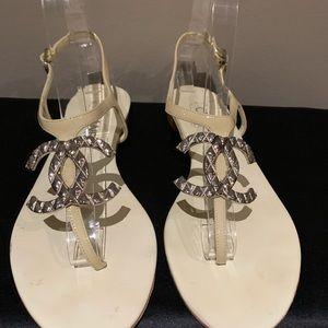 Chanel Cream CC Logo Sandals
